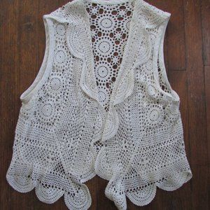Vintage crochet cream-colored vest